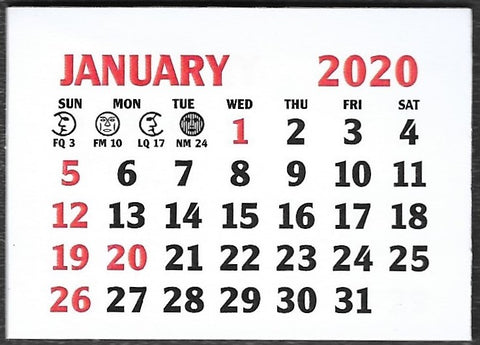 "Medium 2020 Self-Stick Calendar Pads   2-3/8"" x 1-11/16"""