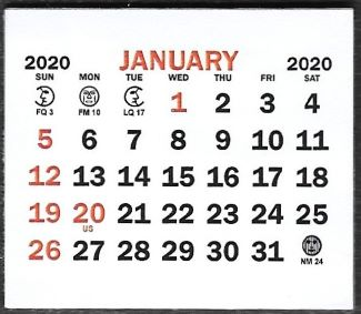 "Small 2020 Self-Stick Calendar Pads  1-3/4"" x 1-1/2"""