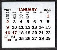 "Small 2022 Self-Stick Calendar Pads    1-3/4"" x 1-1/2"""