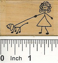Girl with Dog Rubber Stamp 2107E