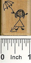 Girl Umbrella Rubber Stamp 2114C