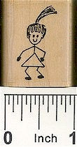 Girl With Ponytail Rubber Stamp 2118C