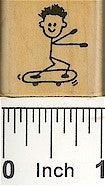 Boy Skateboard Rubber Stamp 2119B