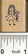 Girl with Doll Rubber Stamp 2120B