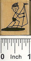 Boy On Boat Rubber Stamp 2123C