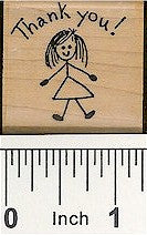 Girl Thank You Rubber Stamp 2125D