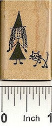 Witch Cat Rubber Stamp 2132C