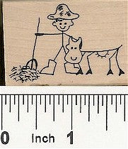 Farmer Cow Rubber Stamp 2149E
