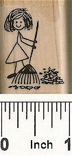 Girl w/Rake Rubber Stamp 2150C
