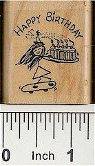 Birthday Skater Rubber Stamp 2155D
