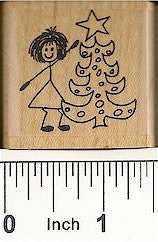 Girl/Tree Rubber Stamp 2201D