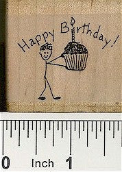 Boy Cupcake Rubber Stamp 2211D