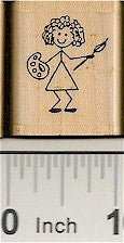 Girl Artist Rubber Stamp 2213C