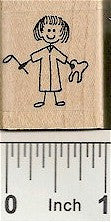 Girl Dentist Rubber Stamp 2237C