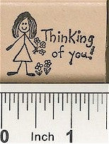 Girl Thinking Of Rubber Stamp 2246D