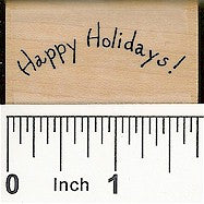 Curved Happy Holidays Rubber Stamp 2275C