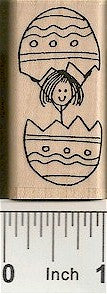 Girl in Egg Rubber Stamp 2288E