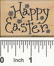 Flower Happy Easter Rubber Stamp 2371E