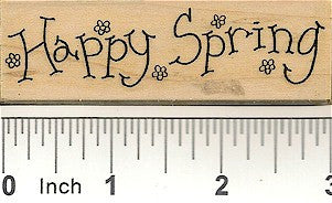 Flower Happy Spring Rubber Stamp 2373G