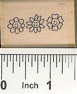 Flower Face Border Rubber Stamp 2380C