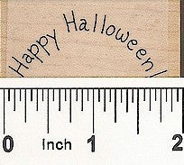 Curved Happy Halloween Rubber Stamp 2406C