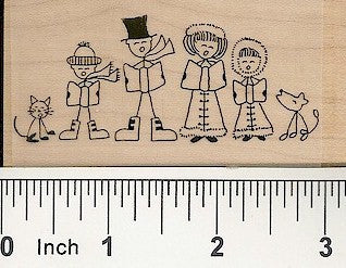 Carolers Rubber Stamp 2417H