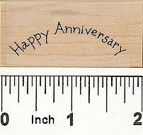 Curved Happy Anniversary Rubber Stamp 2429C