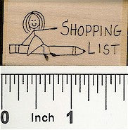 Shopping List Pencil Rubber Stamp 2441D