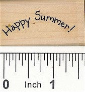Curved Happy Summer Rubber Stamp 2486C