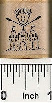 Boy Sandcastle Rubber Stamp 2488D