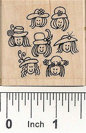 Hat Ladies Group Rubber Stamp 2504F