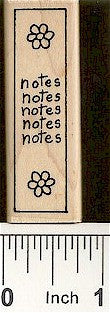 Vert. Daisy Notes Rubber Stamp 2508D