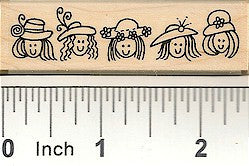 Row of Hat Ladies Rubber Stamp 2510F