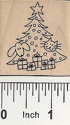 Dog/Cat/Tree Rubber Stamp 2546E
