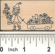 Girl with Wagon Rubber Stamp 2547F