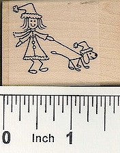 Holiday Girl/Dog Rubber Stamp 2550D