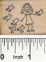 Girl Birds Face Right Rubber Stamp 2562E