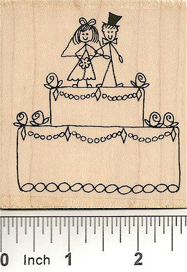 Jumbo Wedding Cake Rubber Stamp 4007J