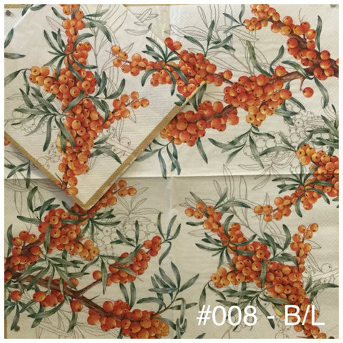 AT-008 Orange Berries Napkin for Decoupage