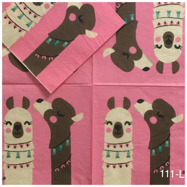 ANIM-111 Two LLamas Napkin for Decoupage