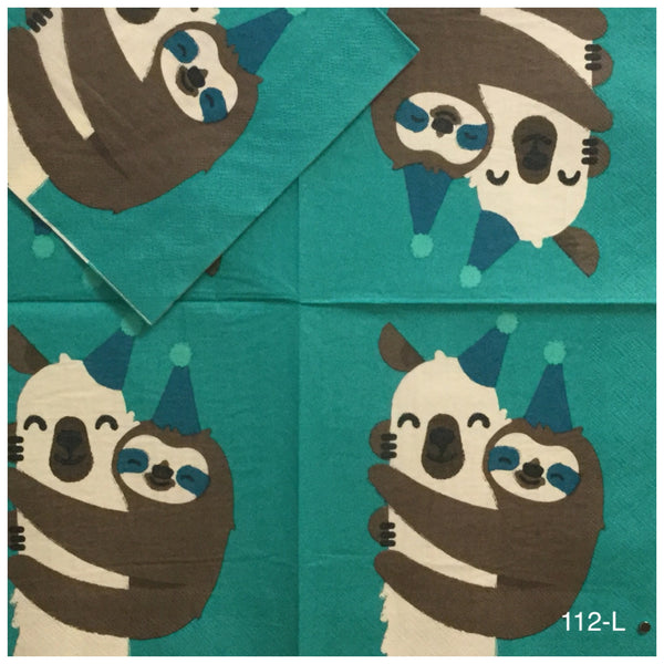 ANIM-112 Llama with Sloth Napkin for Decoupage