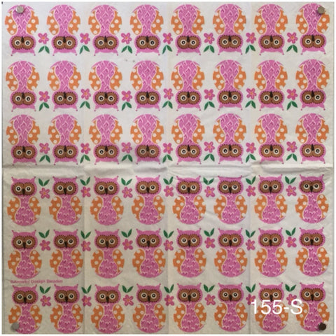 ANIM-155 Pink Owls Sniffer Napkin for Decoupage
