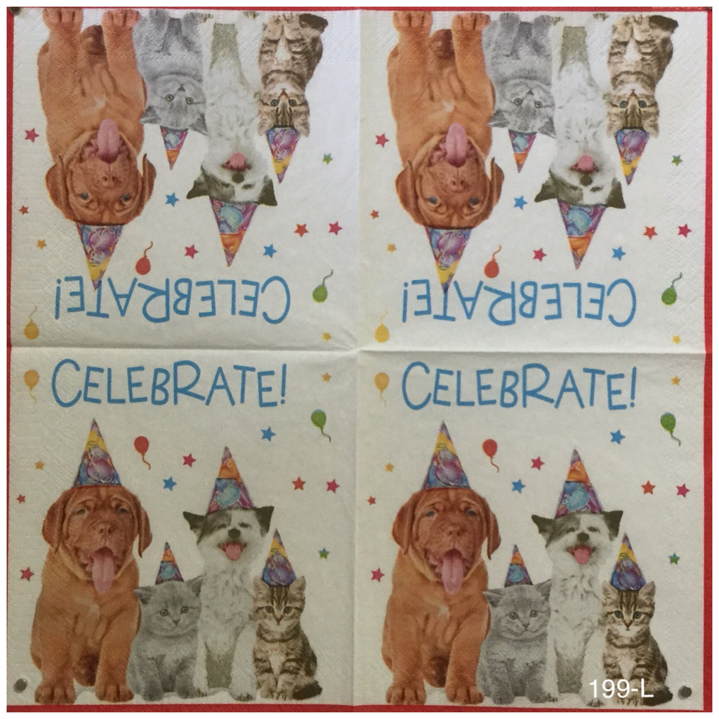 ANIM-199 Celebrate Dog Party Napkin for Decoupage