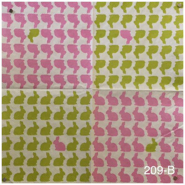 ANIM-209 Pink and Green Bunnies Napkin for Decoupage