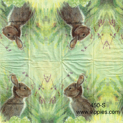ANIM-450 Gray Rabbit in Meadow Sniffer Napkin for Decoupage
