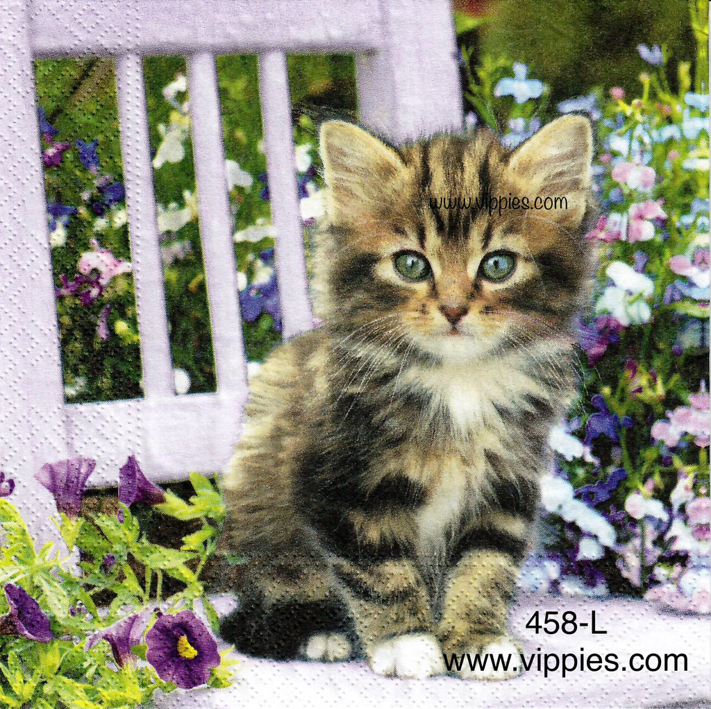 ANIM-458 Kitty On Chair Napkin for Decoupage