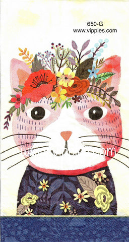 ANIM-650 Floral Kitten Guest Napkin for Decoupage