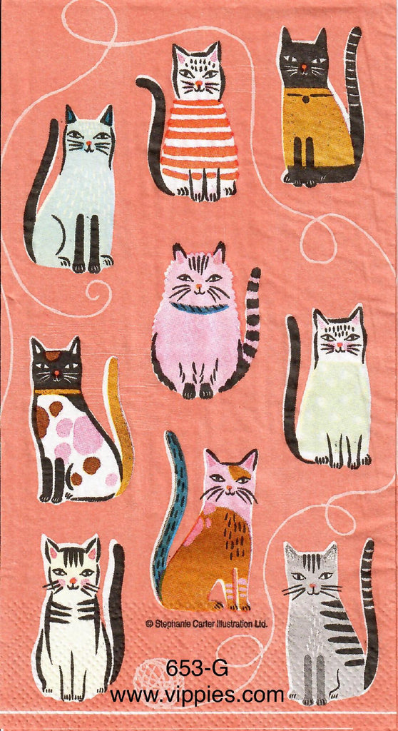 ANIM-653 Cats on Peach Guest Napkin for Decoupage