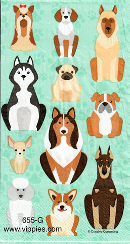 ANIM-655 Dogs on Blue Guest Napkin for Decoupage