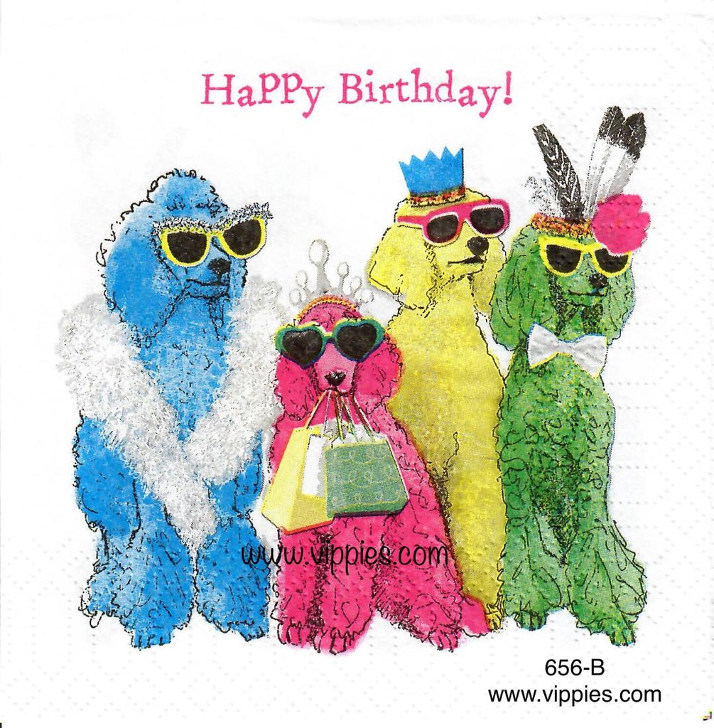 ANIM-656 Happy Birthday Poodles Napkin for Decoupage